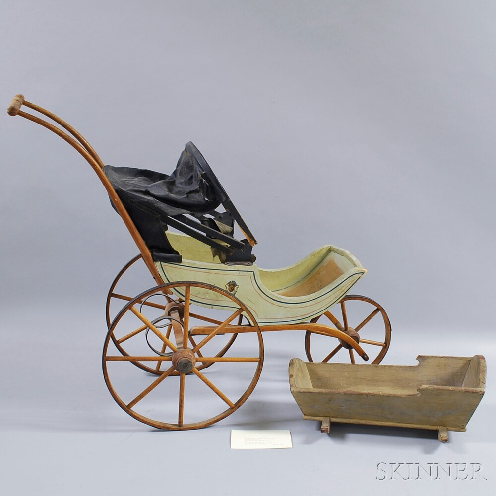 Joel Ellis Paint-decorated Covered Doll Carriage