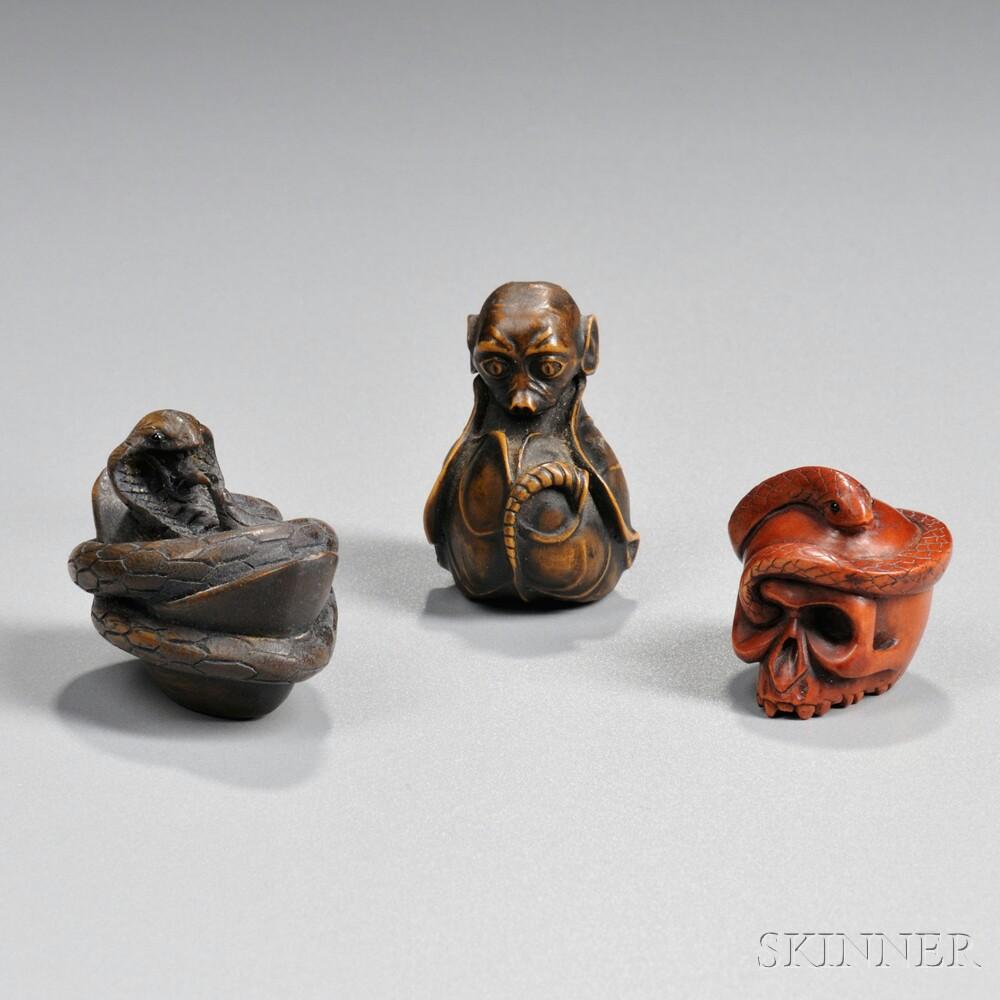Three Wood Netsukes
