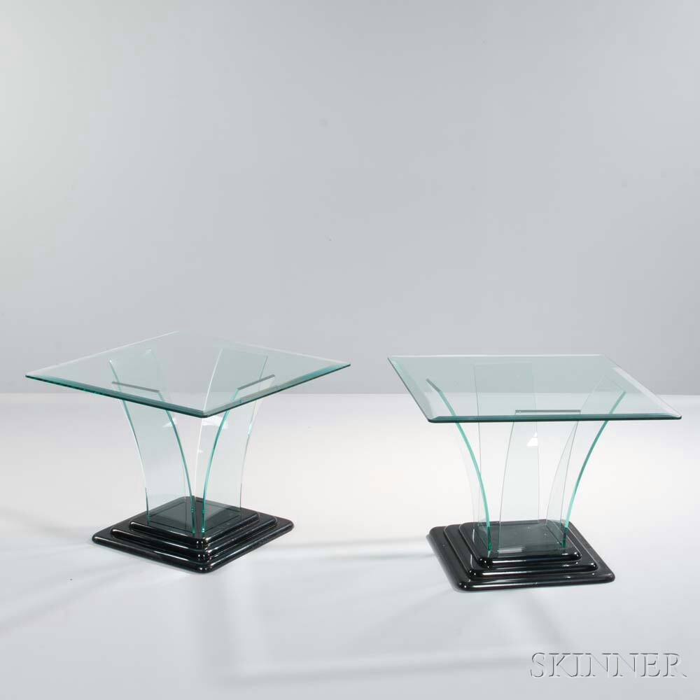 Pair of Glass-top Occasional Tables
