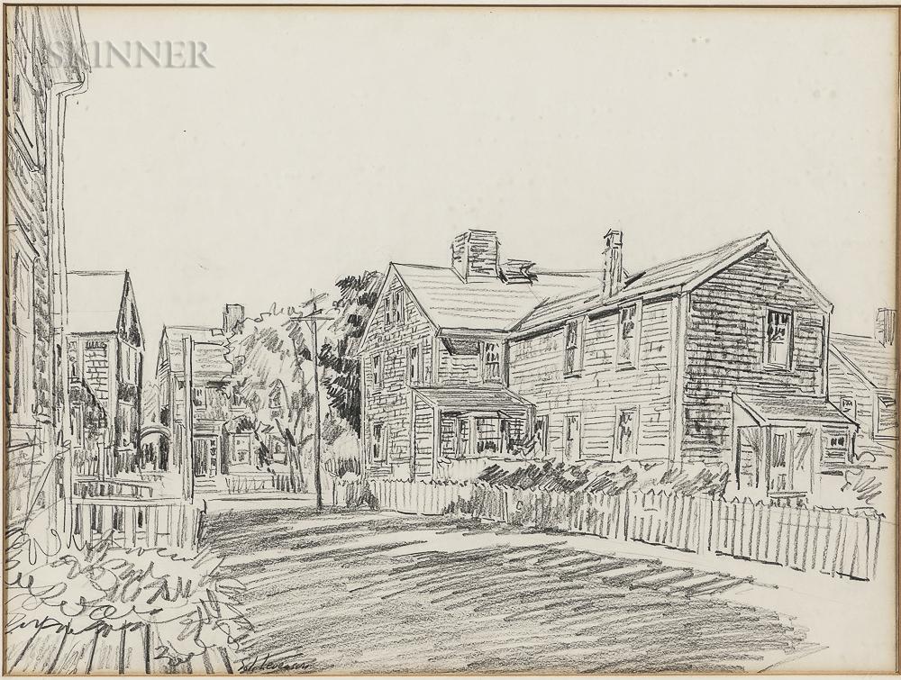 Two Framed Works on Paper:      Elizabeth Talbot Reynolds (American, 19th/20th Century), McIntyre House, York, Maine