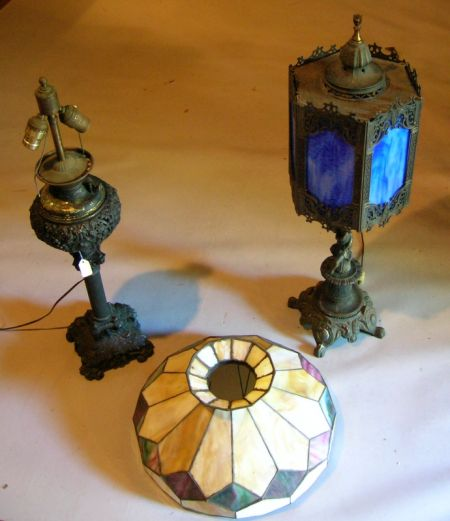 Two Victorian-style Slag Glass and Cast Metal Table Lamps.