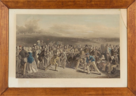 Framed Hand-colored Lithograph The Golfers, A Grand Match Played over