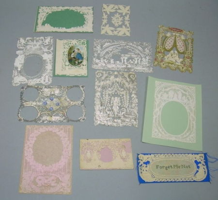 Eleven 19th Century Embossed Paper Lace Valentines