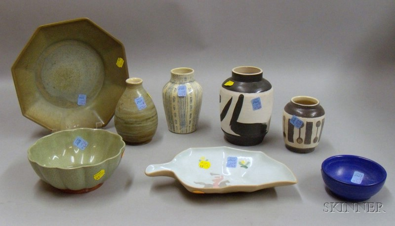 Contemporary Art Pottery Bowl, Four Vases, and Three Pieces of Vally Werner   Glazed Art Pottery