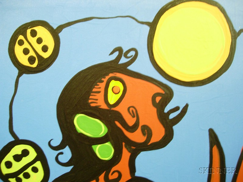 Norval (Copper Thunderbird) Morrisseau (Canadian, 1931-2007)      Medicine Woman and Bear