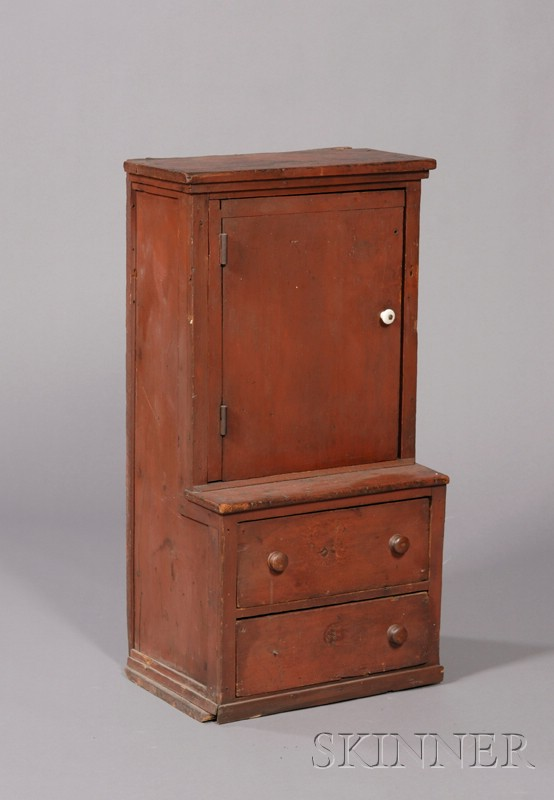 Diminutive Red-painted Pine Step-back Cupboard