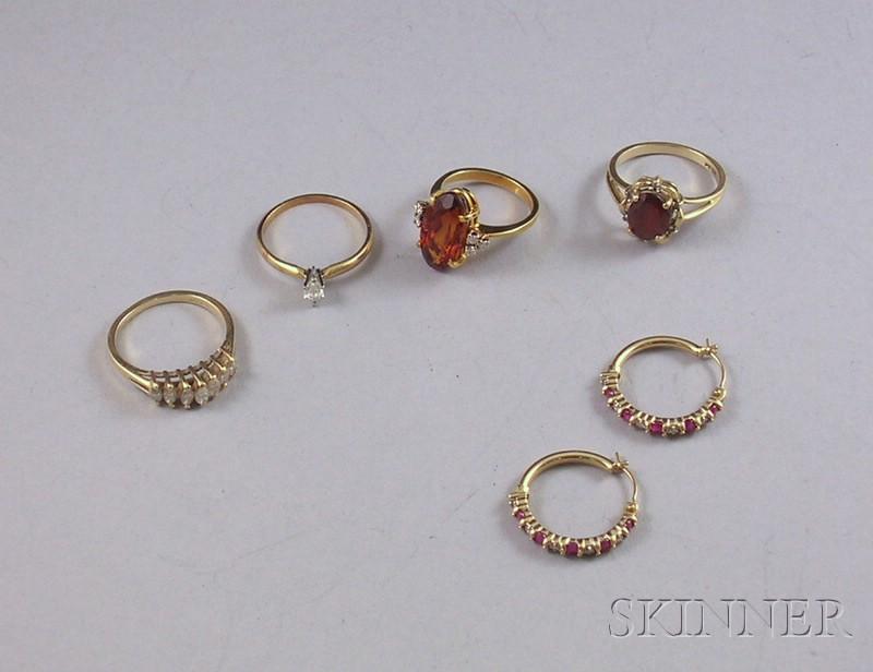 Group of Gold, Diamond, and Gemstone Jewelry