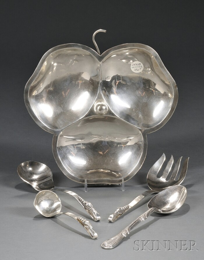Silver Tray and Four Flatware Serving Pieces