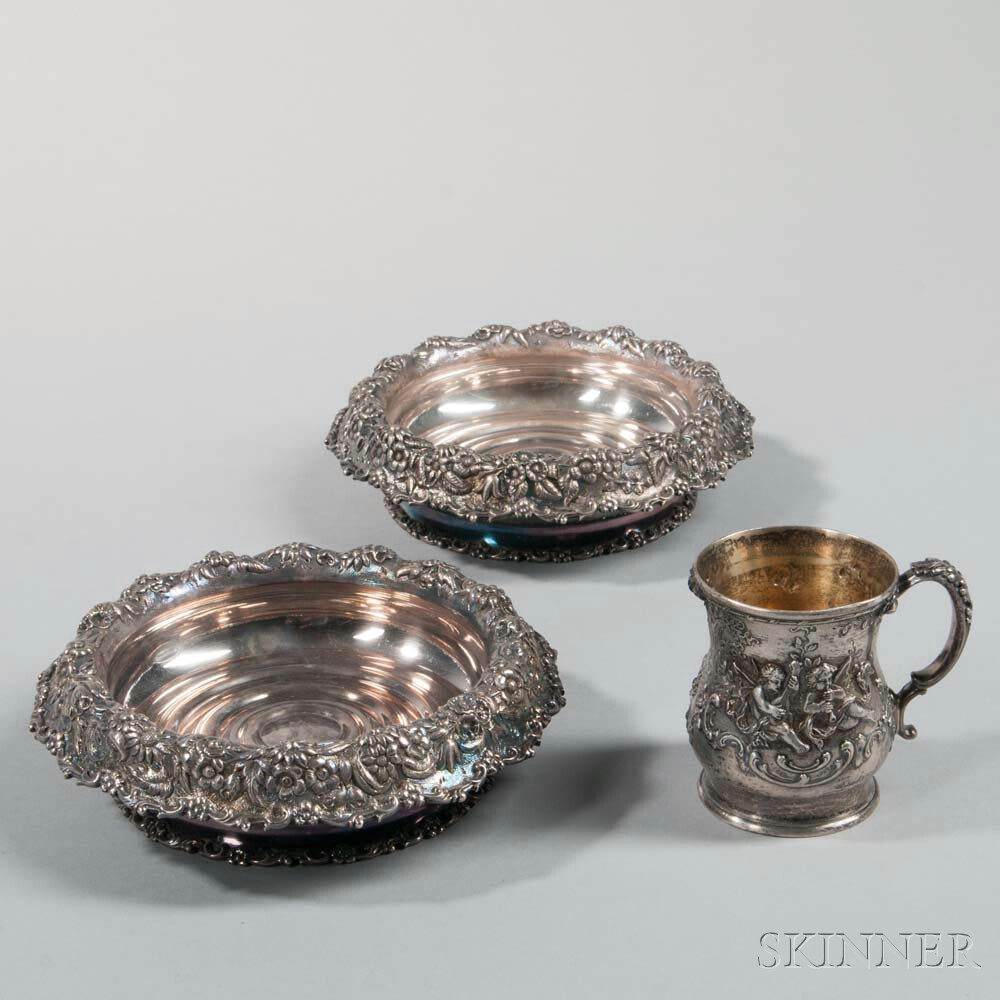 Pair of Tiffany & Co. Silver-plate Wine Coasters and a Christening Cup