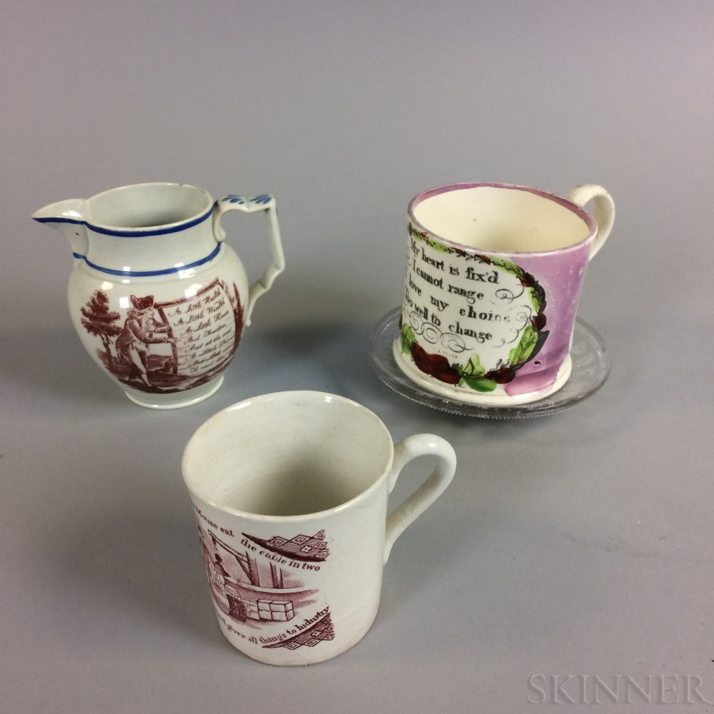 Two English Transfer-decorated Cups, a Creamer, and a Glass Dish