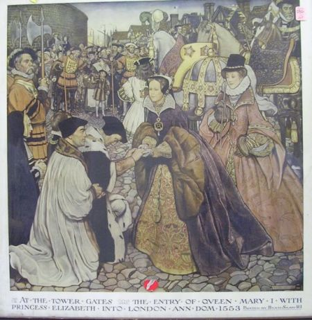 Framed Byami Shaw Chromolithograph At the Tower Gates, The Entry of Queen Mary I   with Princess Elizabeth into London