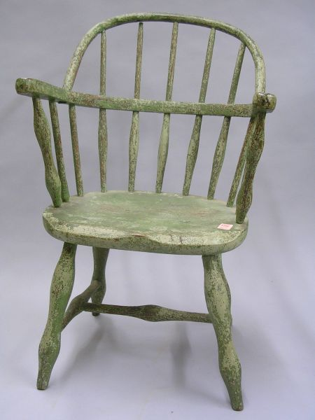Green Painted Childs Windsor Sack-back Armchair.
