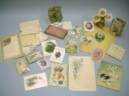 Group of Assorted Late 19th Century Valentines, Cards, and Envelopes