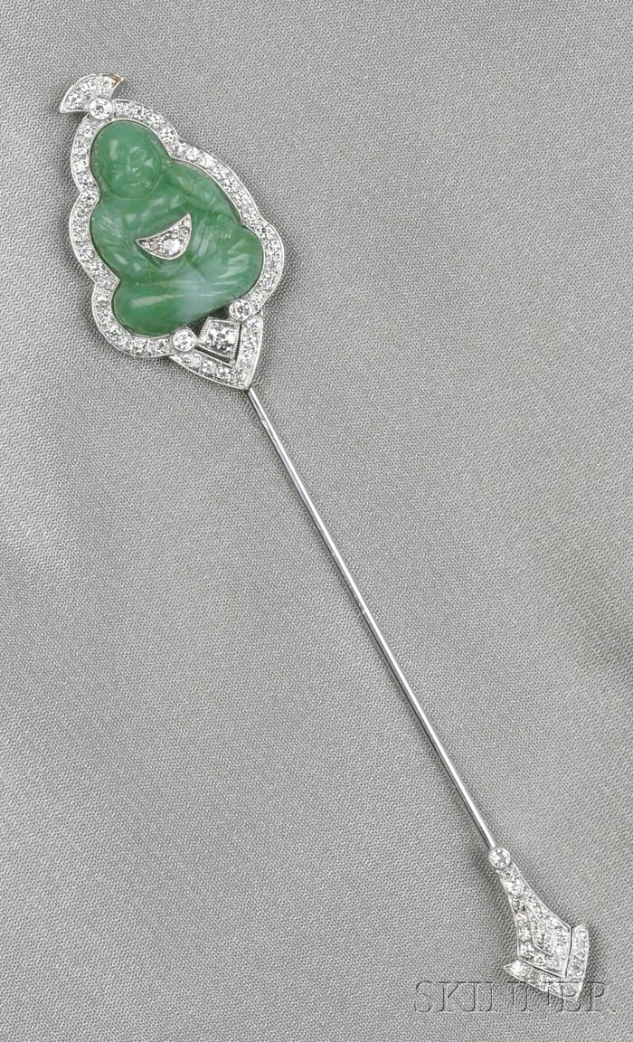 Art Deco Platinum, Molded Glass, and Diamond Jabot, France
