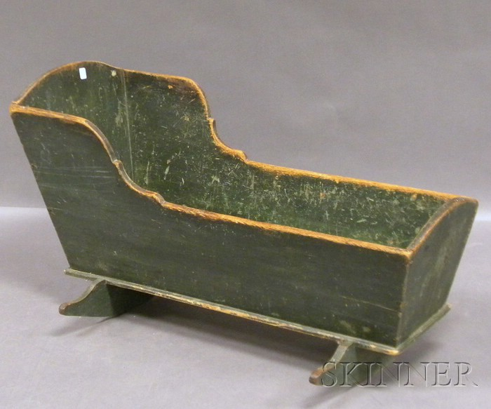 Green-painted Pine Open Rocking Cradle