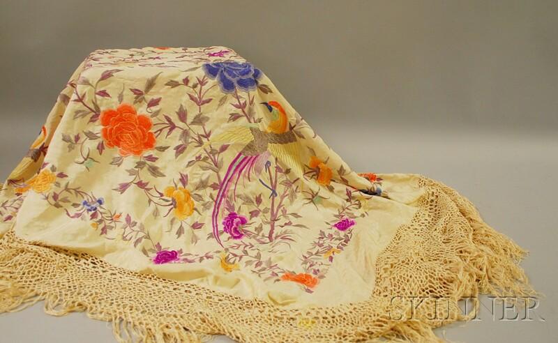 Embroidered Silk Piano Shawl