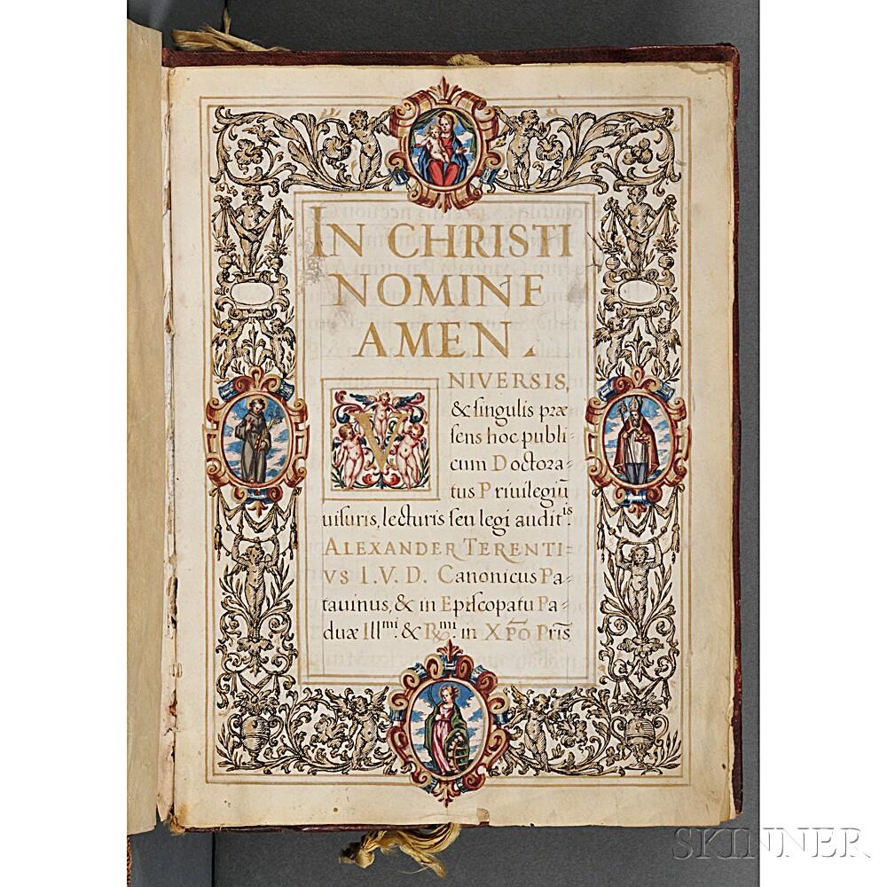 Manuscript Diploma on Parchment, Padua, 1612.