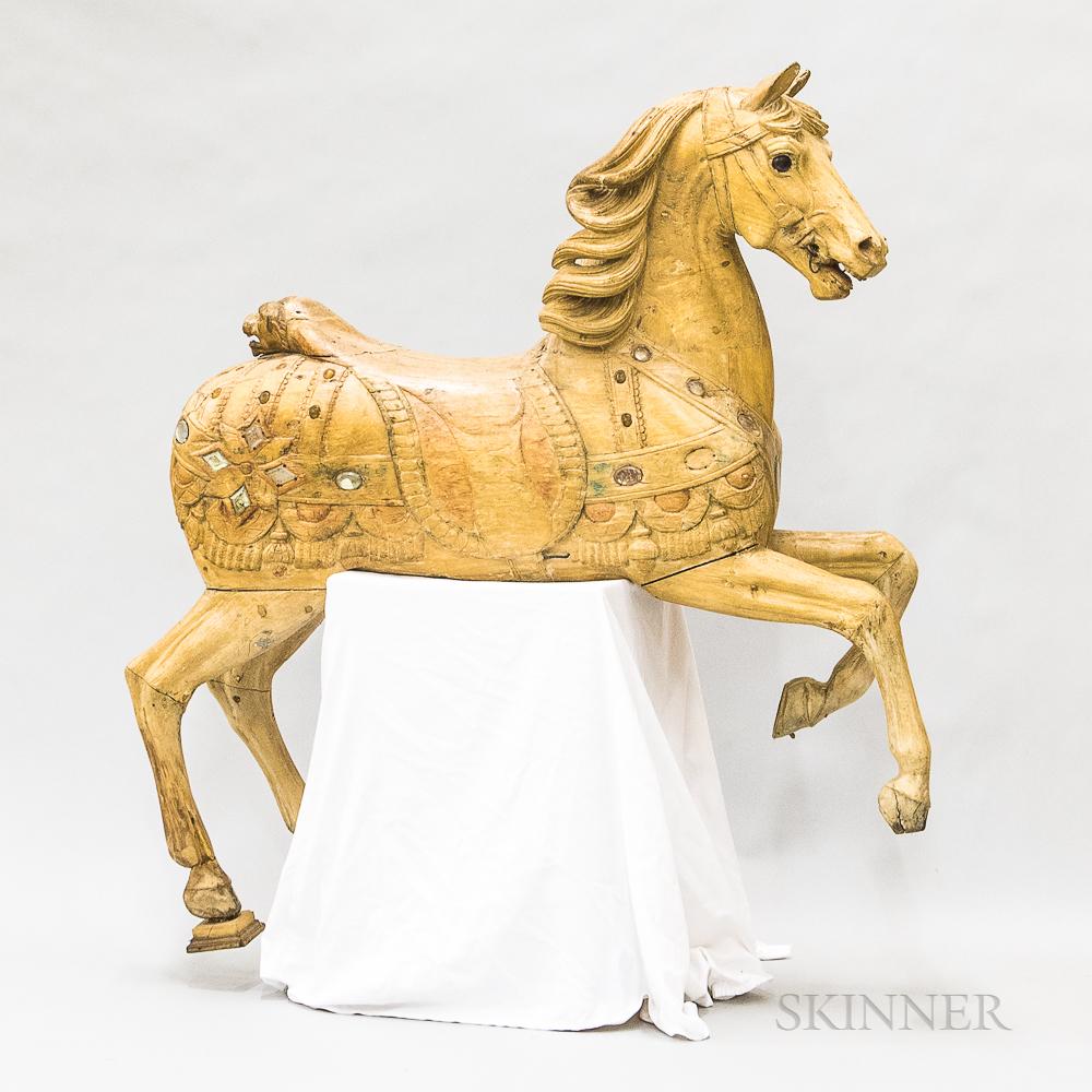 Carved Wood Prancing Carousel Horse