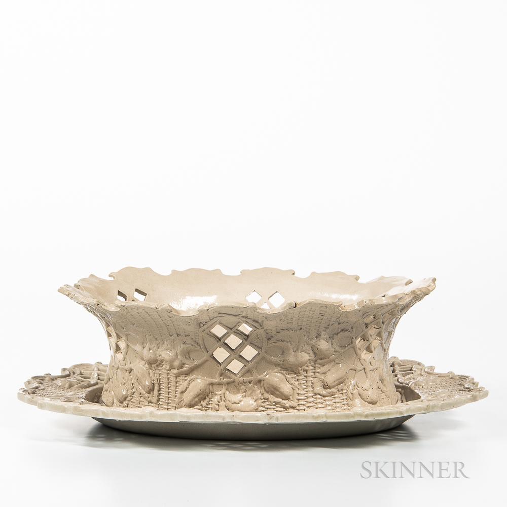 Staffordshire White Salt-glazed Stoneware Berry Basket and Undertray
