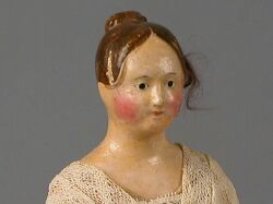 Papier-mache Lady with Brown Molded and Human Hair Wig