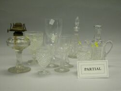 Fifty-nine Pieces of Assorted Colorless Glass Stemware, Cruets, Decanters, Etc.