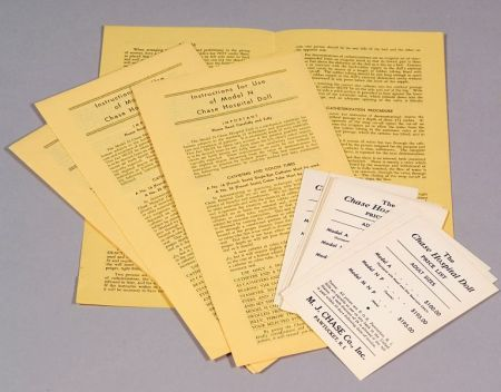 MJ Chase Co. Original Instructions and Price Lists for Hospital Dolls