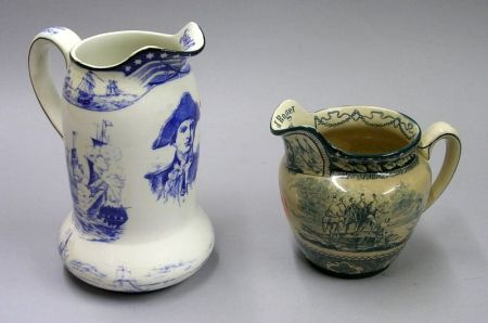 1907 Buffalo Pottery Blue and White John Paul Jones Transfer Decorated Pitcher and   1907 Landing of Roger Williams Jug