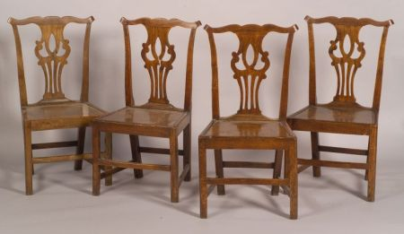 Set of Four English Country Chippendale Elmwood Side Chairs