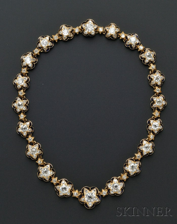 Important Antique 18kt Gold, Diamond, and Enamel Demi-parure