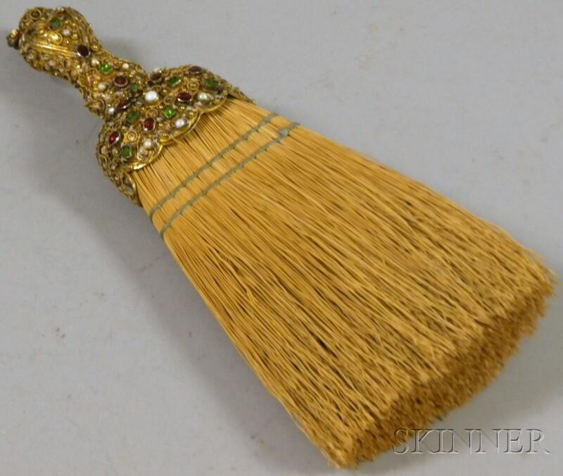 Jeweled Gilt-metal Handled Brush