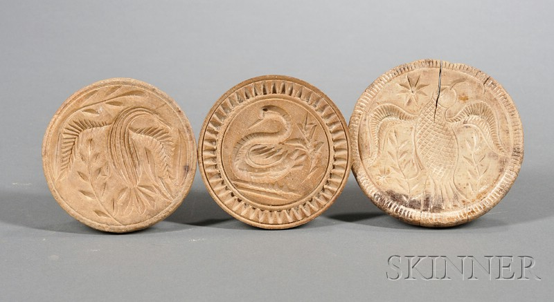 Three Wooden Butter Stamps