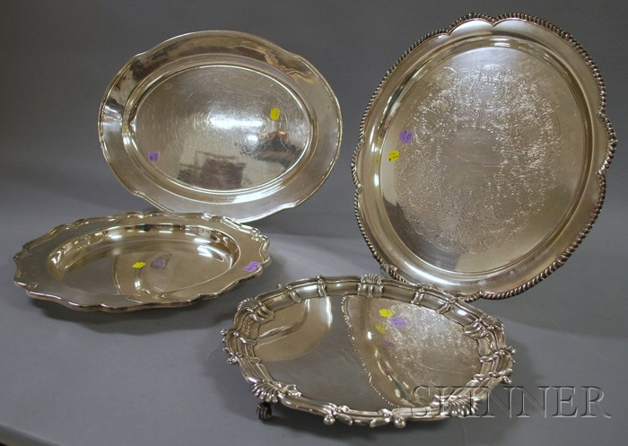 Four English and American Silver-plated Trays