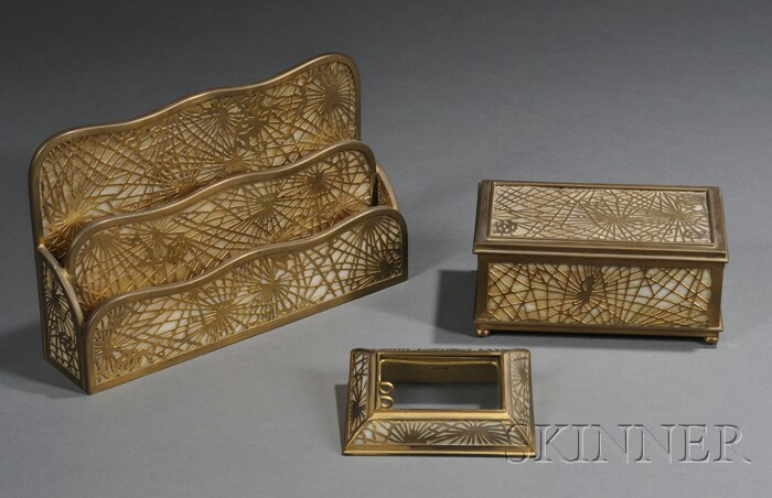 Three Tiffany Studios Pine Needle Desk Articles