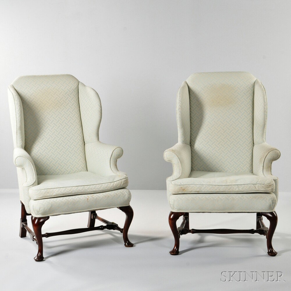 Pair of Queen Anne-style Mahogany Wing Chairs