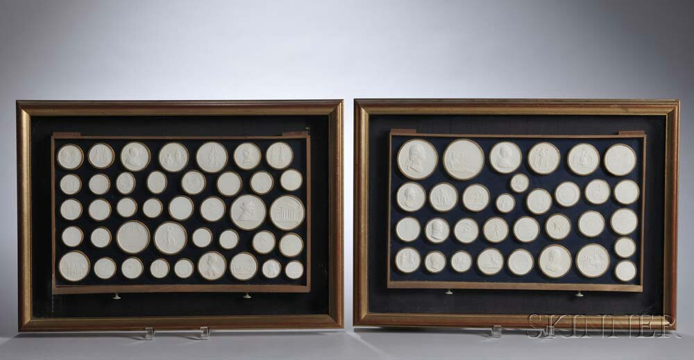 Two Framed Drawers of Plaster Grand Tour Classical Medallions