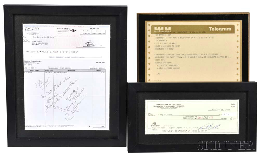 Little Jimmy Dickens     Two Framed Royalty Checks