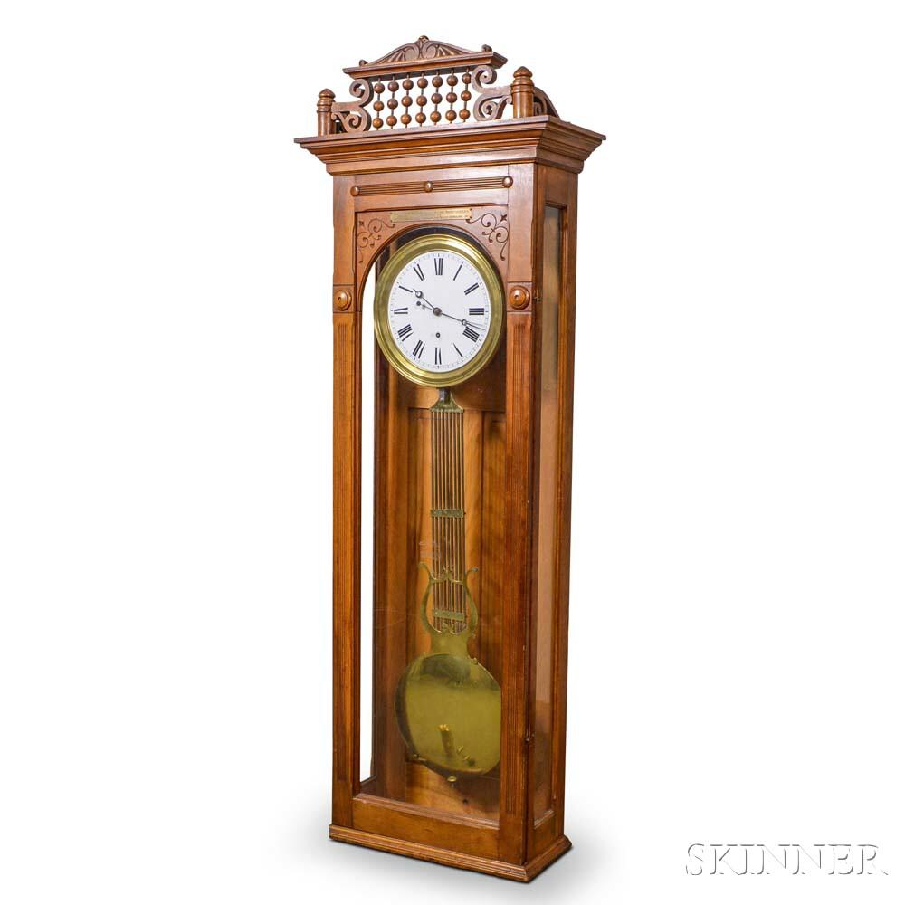 Stained Birch Pinwheel Regulator Wall Clock