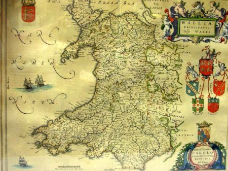 Framed Hand-colored Map of Wales