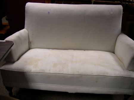 Victorian Muslin Upholstered Settee with Turned Legs.