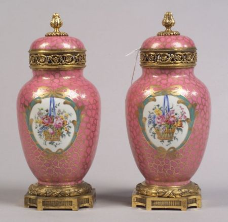 """Pair of """"Sevres"""" Porcelain and Gilt Bronze Mounted Potpourri Urns"""