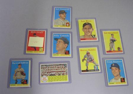 Nine 1958 Topps Baseball Cards