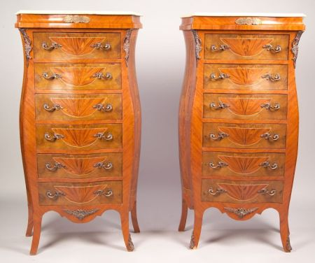 Pair of French-style Gilt-metal Mounted Tulipwood and Parquetry Tall Chests