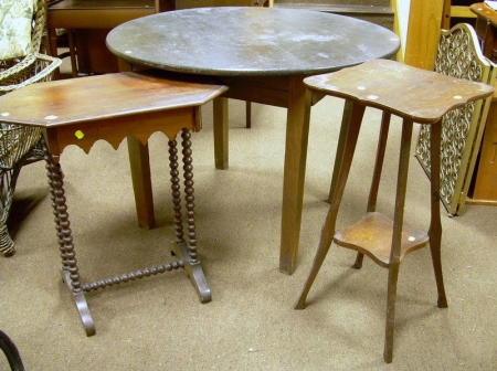Early 20th Century Oak Stand, a Victorian Cherry Spool-turned Stand, and an Oak Round Dining Table.