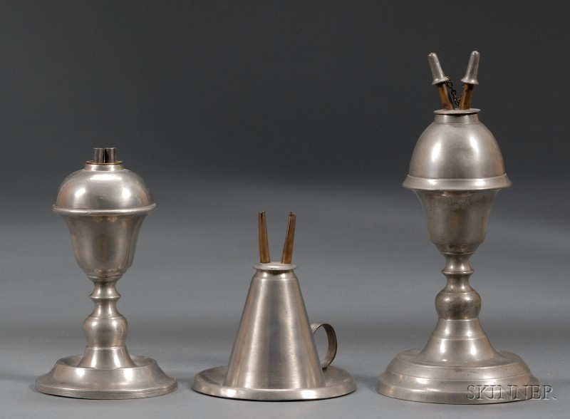 Three Pewter Lamps