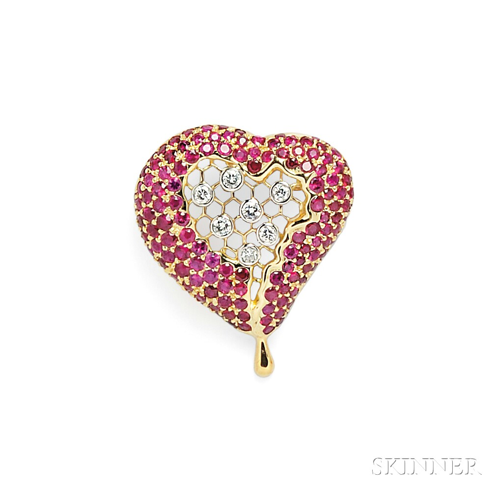 "18kt Gold, Ruby, and Diamond ""Honeycomb Heart"" Pendant, After Henryk Kaston"