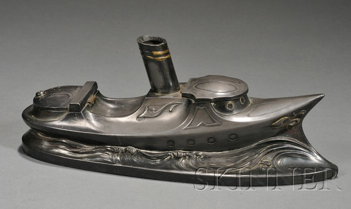 Art Nouveau Influenced Steamboat Inkstand