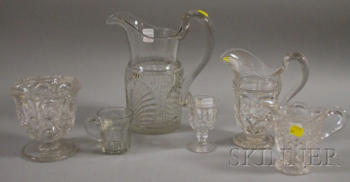 Six Pieces of Colorless Pressed Pattern Glass