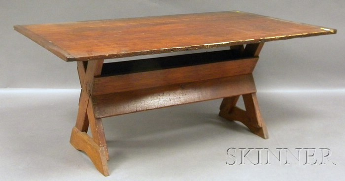 Pine Breadboard-top Sawbuck Table