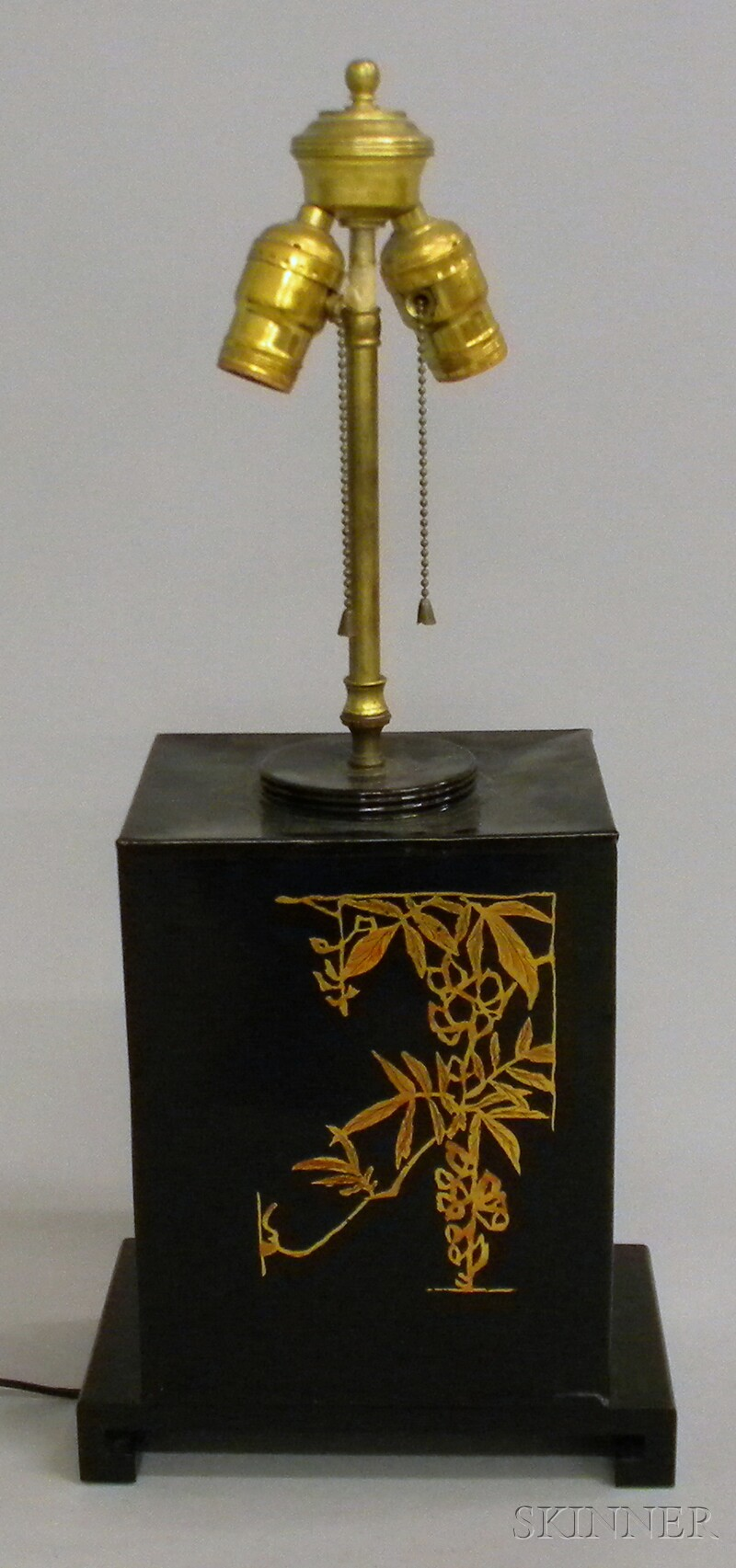 Chinoiserie Painted Metal Tea Canister Table Lamp