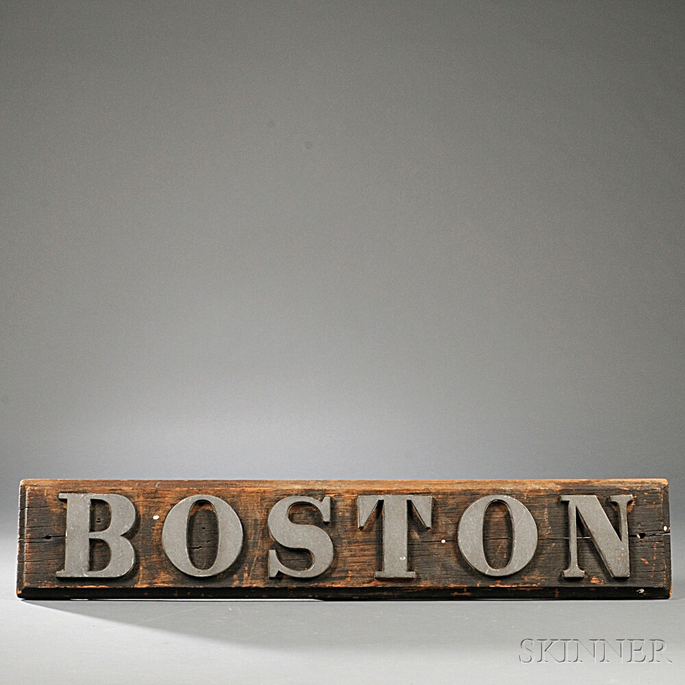 "Wood And Metal Letters Painted Wood ""boston"" Sign With Cast Metal Letters  Sale Number"